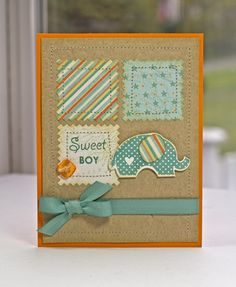 adorable baby card, quilt-inspired