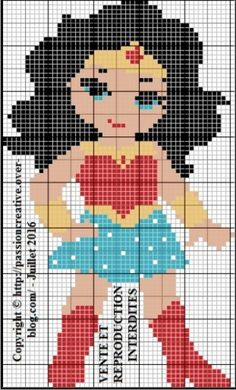 Grille gratuite point de croix : Mini Wonder Woman