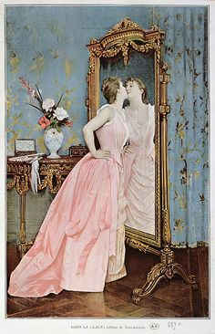In the Mirror, 1890 by Auguste Toulmouche as fine art print. High-quality museum quality from Austrian manufactory. Stretched on canvas or printed as photo. We produce your artwork exactly like you wish. With or without painting frame. Mirror Canvas, Canvas Art, Canvas Prints, Sketches Of People, The Royal Collection, Exactly Like You, Got Print, Canvas Material, Painting Frames