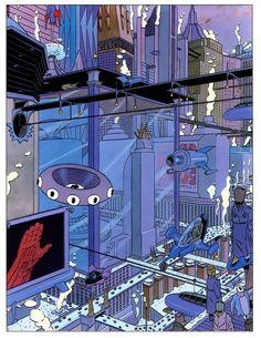 City of the Future – Daniel Torres Comic Book Artists, Comic Artist, Anton, Valencia, Sci Fi City, Street Art, Ligne Claire, Comic Drawing, Paper Drawing