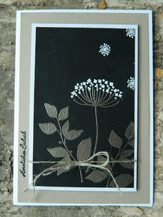 handmade card ... Summer Silhouettes ... shades of gray ... luv the silver embossed leaves and white on black ... framed photo look ... great card! ... Stampin'Up!
