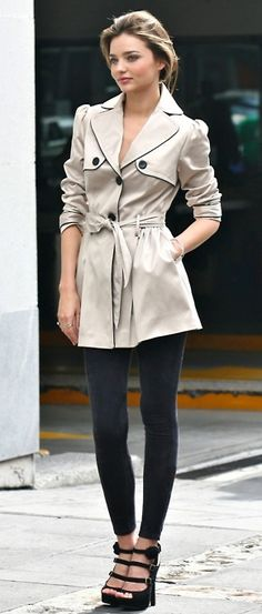 Love the trench with leggings and strappy heels