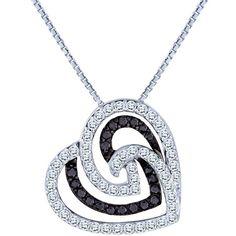 0.35 Carat TW, 10k White Gold Diamond Heart Pendant with Chain featuring Black Diamonds