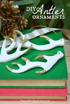 HAPPY Holidays: DIY Antler Ornaments!  Crafted Sparrow for Tatertots and Jello