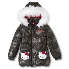 Hello Kitty Girls' Faux Trim Hood Puffer Jacket Black