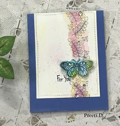 Clean & Simple Card with the ink smooshing technique #happylittlestampers #stamplorations #butterfly #CAS #creativity #craft #crafting #inksmooshing #stamps #flowers #colors