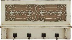 Benzara 20421 Traditional Wood Wall Hook With Top Shelf