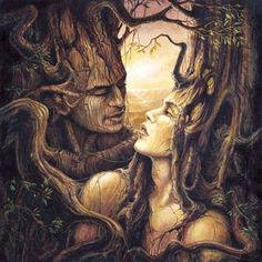"Ask ('ash') and Embla ('elm) were the first two humans created and are written about in the Prose Edda.   ""Soul they had not, sense they had not, Heat nor motion, nor goodly hue; Soul gave Othin (Odin), sense gave Hönir, Heat gave Lothur and goodly hue."" - Bellows Translation"