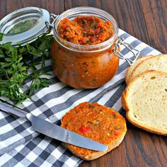 This smooth Eggplant Spread is perfect on many foods including bread. Consuming eggplant improves blood flow to the brain. Eggplant, onion and bell pepper also all contribute to preventing the spread of cancer cells. Ingredients * 1 eggplant * 1 red pepper * 1 large onion