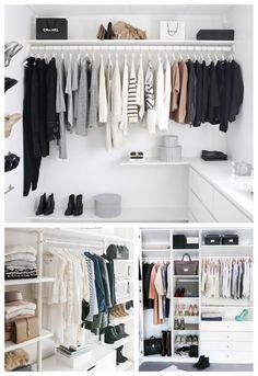 Closet feminino: 60 propostas para organizar as roupas com estilo - Walk In Closet Small, Walk In Closet Design, Bedroom Closet Design, Small Closets, Closet Designs, Home Bedroom, Walking Closet, Closet Minimalista, Organizar Closet