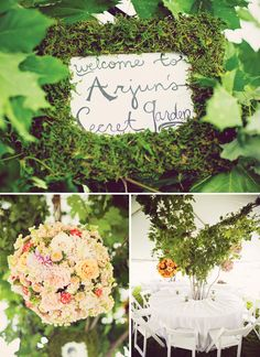 secret garden party - covering frames with moss - could also cover small terracotta pots with moss with centerpieces inside. love the floral kissing ball