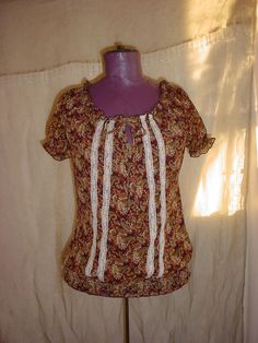 Maurices Sheer Peasant Top Blouse Shirt size Small Brown Paisley Smocking #Maurices #Blouse #Casual Seller florasgarden on ebay