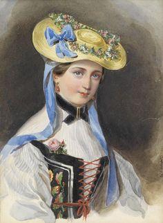 The Princess of Liechtenstein in traditional costume by Franz Xavier Winterhalter, 1845
