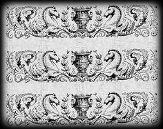 Historic Decorative Border Horse Detail by luminariumgraphics, $2.20