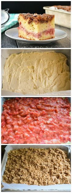Strawberry Rhubarb Coffee Cake is perfect for breakfast or dessert. It's impossible not to love this easy cake recipe. Strawberry Recipes, Fruit Recipes, Sweet Recipes, Baking Recipes, Cake Recipes, Strawberry Rhubarb Recipes, Recipies, Rhubarb Coffee Cakes, Rhubarb Desserts