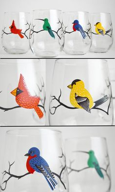 Four Birds Stemless Wine Glasses