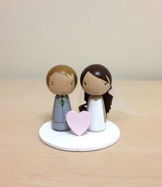 Little Wishes Kokeshi Wedding Cake Topper by LaceandStripes, $49.00