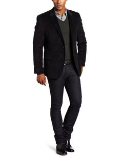 Tommy Hilfiger Men's Trim Fit Corduroy Sport Coat, Black, 42 Regular