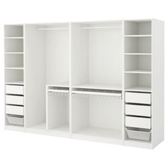 IKEA PAX Wardrobe White 300 x 58 x 201 cm 10 year guarantee. Read about the terms in the guarantee brochure. Bedroom Closet Design, Master Bedroom Closet, Ikea Bedroom, Bedroom Wardrobe, Closet Designs, White Bedroom, Bedroom Storage, Bedroom Furniture, Armoire Wardrobe