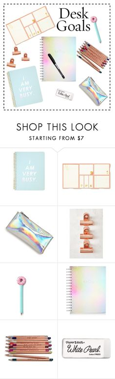 """desk #12"" by marrvel ❤ liked on Polyvore featuring interior, interiors, interior design, home, home decor, interior decorating, ban.do, Kate Spade, Bari Lynn and Urban Outfitters"