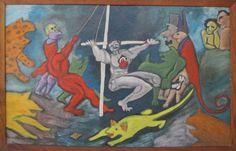 Antonio BONILLA : El Circo de la Crueldad ; 1984 ;140cm x 90cm ; acrilico sobre tela ; colección MDAA (anteriormente en la colección Jorge Cornejo)