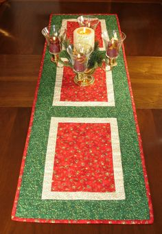 Christmas Table Runner Holiday Wallhanging Christmas by FabriArts
