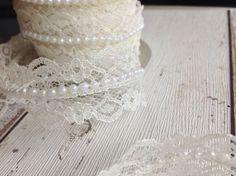 Ivory Lace & Pearl Trim Wedding Decor, Vintage, Great With Burlap Wedding Decor Burlap Wedding Decorations, Table Decorations, Bridal Lace, Wedding Supplies, Looks Great, Wedding Invitations, Ivory, Pearls, Ribbons