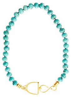Turquoise Beaded Stirrup Necklace