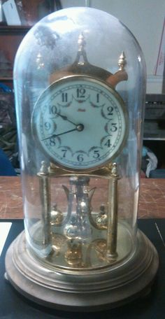 Vintage Kundo Kennger & Obergfell Clock w/Glass Globe Made in Germany For Parts