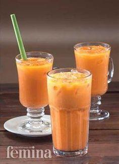 Thai Ice Tea Femina Refreshing Drinks, Yummy Drinks, Healthy Drinks, Indonesian Desserts, Indonesian Food, Indonesian Recipes, Shake Recipes, Ice Cream Recipes, Drink Recipes