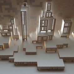 Modern cityscape for a new series of architecture through time. Kirigami Templates, Origami And Kirigami, Cardboard Crafts, Paper Crafts, Cultura Maker, Paper Architecture, Architecture Models, Architectural Sculpture, Pop Up Art