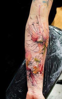modern on forearm | flower tattoos | egodesigns