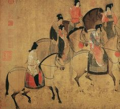 Zhang Xuan (張萱, 713-755) was a Chinese painter who lived during the Tang Dynasty (618–907).   China Online Museum - Chinese Art Galleries, via Flickr Korean Painting, Japanese Painting, Japanese Art, Chinoiserie, Art Japonais, China Art, China Painting, Buddhist Art, Horse Art