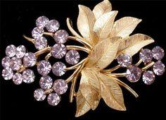 Vintage Crown Trifari Rhinestone Brooch Signed Lavender Purple Brushed Gold Pin