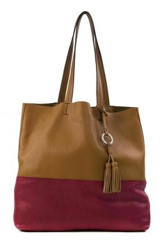 "Leather tote. Open Top. Inner pockets: 1 zip compartment 1 credit card slip pocket. Color: Honey/ Sangria.  Measures 15""W x 15""H x 3.5""D Strap: 10""  Drifter Tote Honey-Sangria by Sanctuary. Bags - Totes Hudson Valley New York"