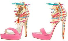 Shoe of the Day | Brian Atwood Raffia-Heel Colorblock d'Orsay Sandals