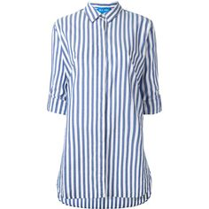 Mih Jeans oversized striped shirt (15.015 RUB) ❤ liked on Polyvore featuring tops, blue, blue striped shirt, oversized tops, oversized striped shirt, blue striped top and cotton shirts