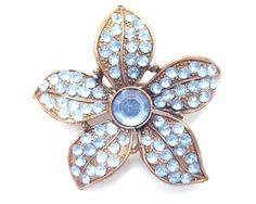 Vintage copper-tone blue rhinestone flower brooch 1960s. $20.00