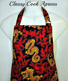 Apron Mans, DRAGON FIRE & Red Flames, Asian Oriental, BBQ Grill Fun Kitchen Gift, by ClassyCookAprons, $35.50