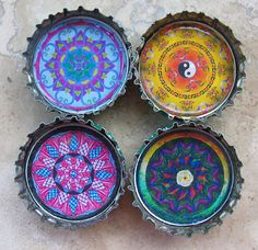 4 Hippie Yin Yang Colorful Bottle Cap Magnets with Organza Bag