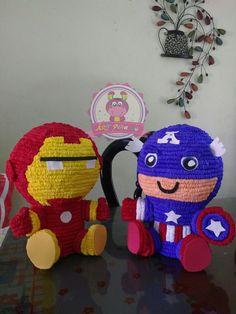 Centro de mesa de Iron-man y capitán América. Síguenos en facebook ART-piñatas