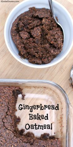 Gingerbread Baked Oatmeal from 5DollarDinners.com Baked Oatmeal Recipes, Baked Oats, Oatmeal Breakfast Recipes, Oatmeal Dinner, What's For Breakfast, Breakfast Healthy, Breakfast Dessert, Breakfast Dishes, Good Healthy Recipes