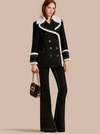 Shearling-trimmed Wool Cashmere Blend Pea Coat