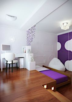 Purple White Modern Bedroom Hideaway Bed : Great Plan Saving Space At Home – Some Ideas Small Space Living, Small Spaces, Small Dining, Modern Teen Room, Modern Bedrooms, Hideaway Bed, Hidden Bed, Basement Bedrooms, Basement Ideas