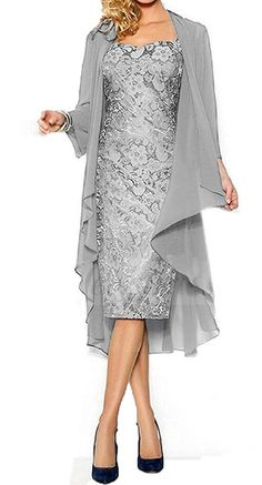 Fanmu Women's Mother of the Bride Dress With Jacket Mother Party Dress at Amazon Women's Clothing store: