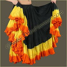 Tribe Nawaar Black Top Sunrise Hand Dyed 25 Yard Cupcake Skirt. Premium quality fluffy tribal bellydance skirt for ATS, ITS, flamenco, folkloric dances, Renaissance Festival, Burning Man or gypsy inspired costumes. Tiered skirt with ombre black, yellow and orange shades is perfect for spinning and skirt tucking