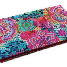 Porte-chéquier en tissu coton coloré