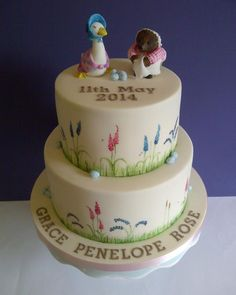 Hand Painted Beatrix Potter Christening Cake