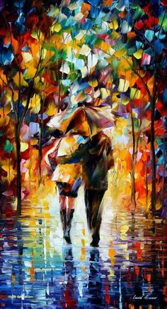 COUPLE UNDER RAIN, I don't know why but I love this style... I should look up who this artist is...