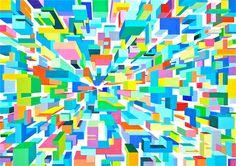 "Saatchi Art Artist Ariane Fonteyne; Painting, ""CUBE CITY"" #art #InspiredbyMondrian"